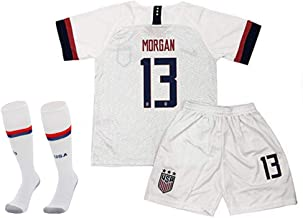 Sworldjs 3PCS #13 Alex Morgan Home Soccer Shirt for Youth and Kids with Shorts and Socks White
