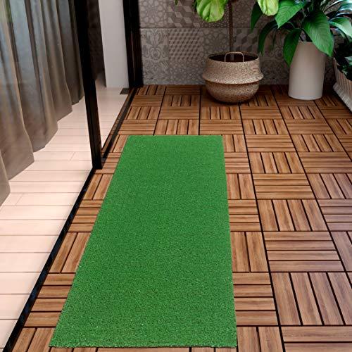 Ottomanson Evergreen Artificial Turf Runner Rug, 20'X59', Green