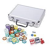 LANGWEI Poker Chip Set per Texas Holdem, 200PCS Clay Composite Chips con Custodia, Carte, Bottoni E Fiches da Casinò Stile Dadi di Trademark Poker