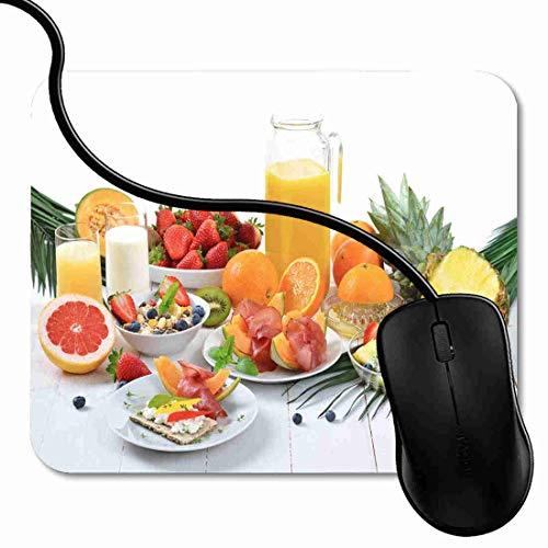 SGSKJ Alfombrilla de Ratón para Gaming de Alfombrilla de Cuadrado Mouse Pad Tabla Desayuno Saludable Fruta Fresca Biscotes Crujientes Jamón Soporte para Ordenador, PC y Portátil 1X1248