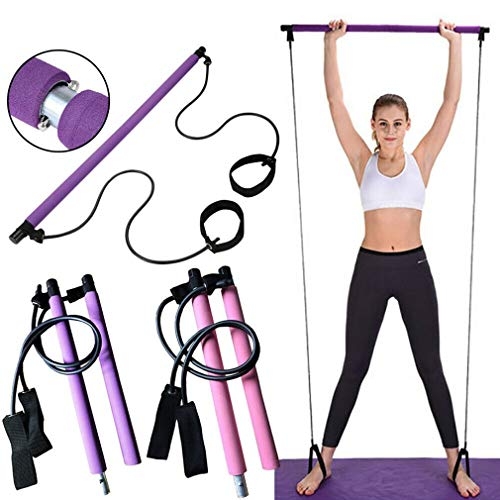 UJKIO Portable Yoga Exercise Pilates Bar, Pilates Bar Kit with Resistance Band Home Gym Pilates with Foot Loop for Total Body Workout (Purple)