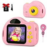 GKTZ Kids Camera Small Video Camcorder 12MP HD Digital Cameras with 2 inch Screen for Children,Ideal Gift Toys for 3-8 Year Old Boys Girls - Pink