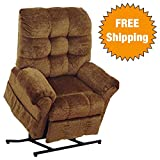 Catnapper Power Lift Full Lay-Out Recliner - Comfort Chaise Seating - Soft and durable polyester fabric (Havana) - Weight Capacity 450 lb.