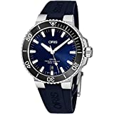 Oris Aquis Date Mens Stainless Steel Automatic Diver Watch Swiss Made - 43mm Analog Blue Face Sapphire Crystal Dive Watch - Blue Rubber Band Diving Watches for Men 300M Waterproof 733 7730 4135