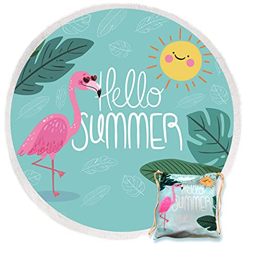 Large Round Beach Towel with Fringe, Microfiber Flamingo Round Beach Blanket with Tassels, Sand Free, Fast Drying Circle Mat, Wall Decor, Outdoor Picnic Blanket with Matching Beach Bag