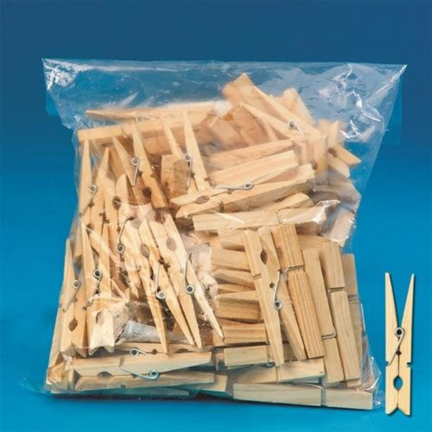 100 Count Wooden Clothespins, Spring, 2-3/4