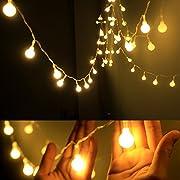 Dailyart Lichterkette, 4m, wasserdicht, IP44,lang, kugelförmige Leuchtmittel, batteriebetrieben, für Gärten, Hochzeiten, Party, Beige