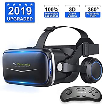 Pansonite Vr Headset with Remote Controller 3D Glasses Virtual Reality Headset for VR Games & 3D Movies Eye Care System for iPhone and Android Smartphones  Sb-Black