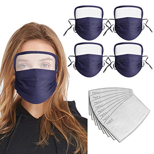 Adult Cotton Washable Anti Dust Breathable Eye Protection Adjust Face Integrated (5Pcs Blue+ 10Pcs Filters)