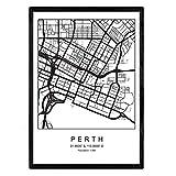 Nacnic Blatt Perth Stadtplan nordischen Stil schwarz und