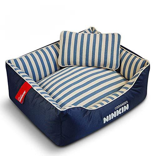 Cama para Perros de Felpa Suave y cálida Cama para Perros Cama para Dormir mullida sofá para Mascotas Perros pequeños y medianos de Varios tamaños -Tela Azul y Blanca_M-45 * 60