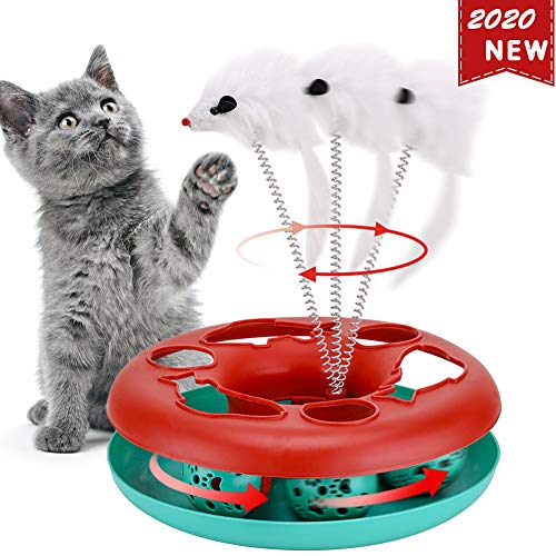 Interactive Cat Toys Roller, Spring Cat Toys with Catnip, Kitten Tracks, Pet Toy with Moving Balls...
