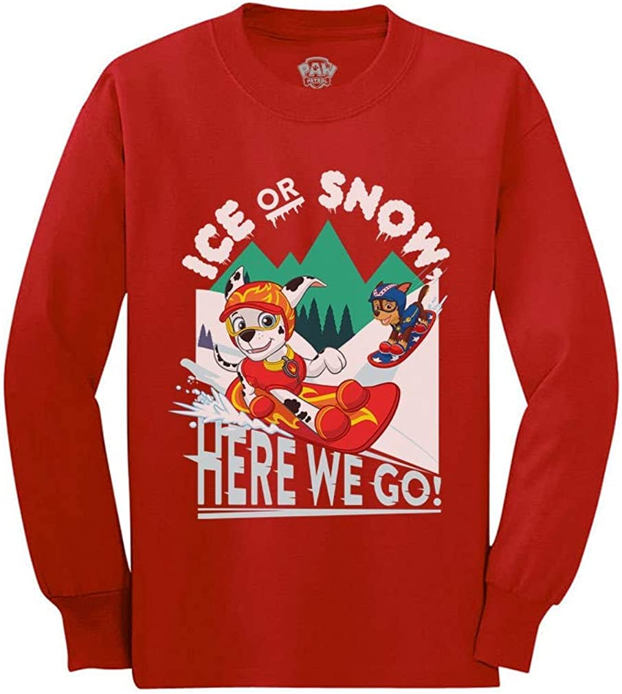 Paw Patrol Chase Marshall Christmas Ice Snow Toddler//Kids Long Sleeve T-Shirt