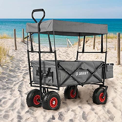 BRAST Bollerwagen Strandwagen faltbar Grau bis zu 80kg Tragkraft Klappbar doppellagig 2 Farben Handwagen Transportkarre Gerätewagen Transportwagen