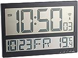 Infactory Talla Digital Reloj de Pared: Reloj de Pared Digital controlado por Radio con Pantalla LCD Gigante, Pantalla de Temperatura Interior (Digital Reloj de Pared con termómetro)