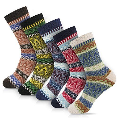 Women Winter Socks Women Socks Warm Thick Soft Wool Socks Christmas Gift Socks for Women Cozy Crew Socks-5packs (Multi-color1)