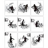 9 Stampe Parete di Basket Decoro con Sagoma di Basket Pittura Artistica di Basket Gioco Poster Arte di Basket in Bianco e Nero, Quadro Schiacciata di Basket Senza Cornice, 8 x 10 Pollici