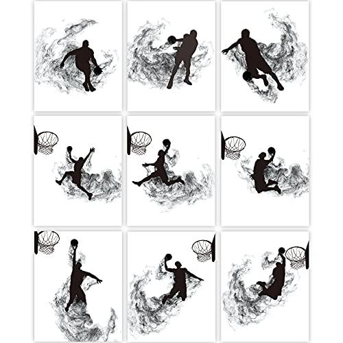 9 Stücke Basketball Wanddrucke Basketball Silhouette Wanddekoration Spielen Basketball Kunst Malerei Schwarz Weiß Basketball Sport Kunst Poster Ungerahmte Basketball Dunk Bild, 8 x 10 Zoll