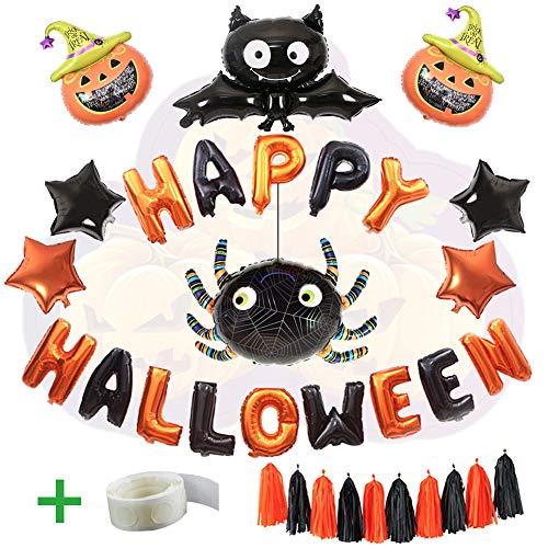WLZP Decoración de Halloween, 24 Pack Incluyen Happy Halloween Banner Foil Letter...