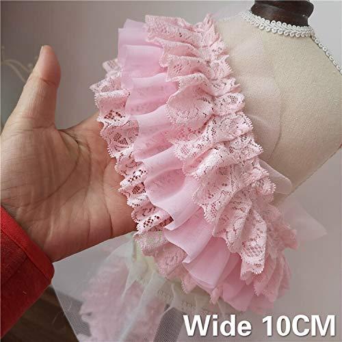 QWERTYU RIIANME 10 cm breed drie lagen roze 3D chiffon plissé uit kant met ruches borduurwerk jurk bruidsjurk rok fluffy knutselen accessoires naaien