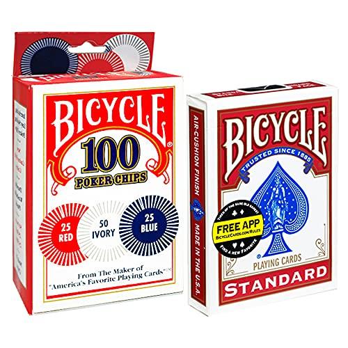 Novelty Corp Paquete DE FICHAS Bicycle Poker 100 FICHAS, MAS BARAJA Poker Bicycle Standard