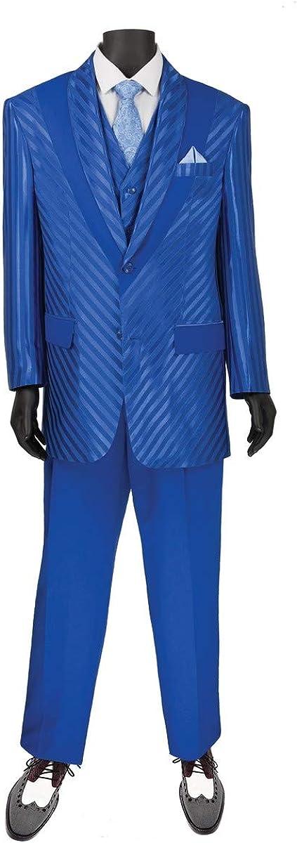 VINCI Men's Tone-on -Tone Pattern 2 Button Single Breasted Classic Fit Suit W/Shawl & Vest 23RS-9