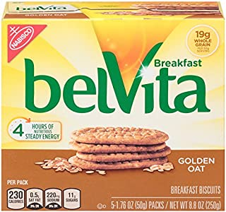 belVita Breakfast Biscuits, Golden Oat Flavor, 30 Packs (4 Biscuits Per Pack)