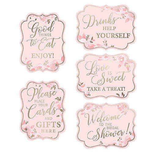 Lillian Rose Set of 5 5 Pink & Gold Bridal Shower Signs
