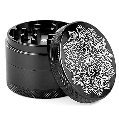 "4 Piece Herb Grinder Aluminum Large 2.5"" Spice Grinders with Catcher Black"