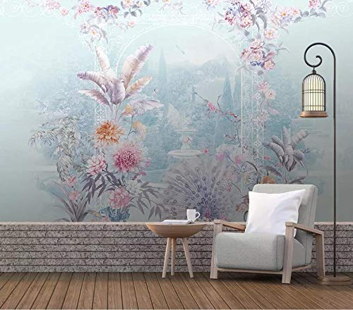 Aymsm Custom 3D Mural Wallpaper Vintage, European Style Hand-Painted Tropical rain Forest Landscape Flowers and Birds