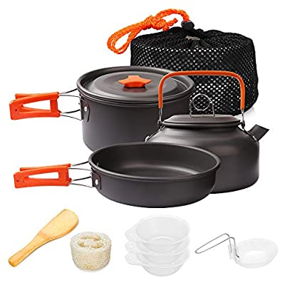 Gutsdoor Camping Cookware Set 4 Person Camping Cooking Set Non Stick Family Backpacking Cooking Set Lightweight Stackable Pot Pan Kettle Bowls with Storage Bag for Outdoor Hiking (10 Piece/Set)