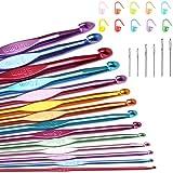 14 Sizes Crochet Hooks Set Multi-Color Metallic Plated, Tomorotec Art Aluminum Knitting Needles for Yarn Craft Set with Stitch Markers and Big Eye Needles