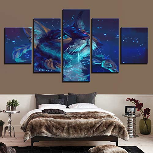 GVC 30X40X60X80 Canvas HD Prints Paintings Wall Art Framework 5 Pieces Cat Magic Animal Pictures Modular Abstract Posters Home Decor Living Room