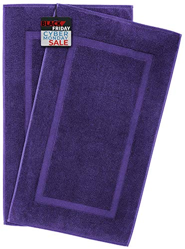 900 GSM Machine Washable 20x34 Inches 2-Pack Banded Bath Mats, Luxury Hotel & Spa Quality, 100% Ring Spun Genuine Cotton, Maximum Softness & Absorbency by United Home Textile, Violet Purple