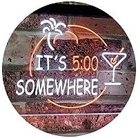 It's 5 pm Somewhere Bar Beer Cocktails Dual Color LED看板 ネオンプレート サイン 標識 白色 + オレンジ色 600 x 400mm st6s64-i2090-wo