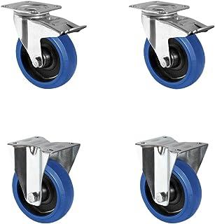 CASCOO SETTBFB125R4F1R0N rollenset 2 zwenkwielen met vastzetter, 2 bokwielen, polyamide, elastiek blauw, rubber, diameter ...