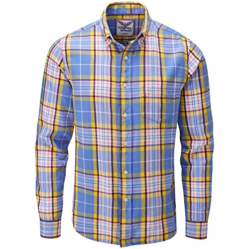 Charles Wilson Camisa Franela de Cuadros Manga Larga para Hombre (Medium, Blue & Pink)