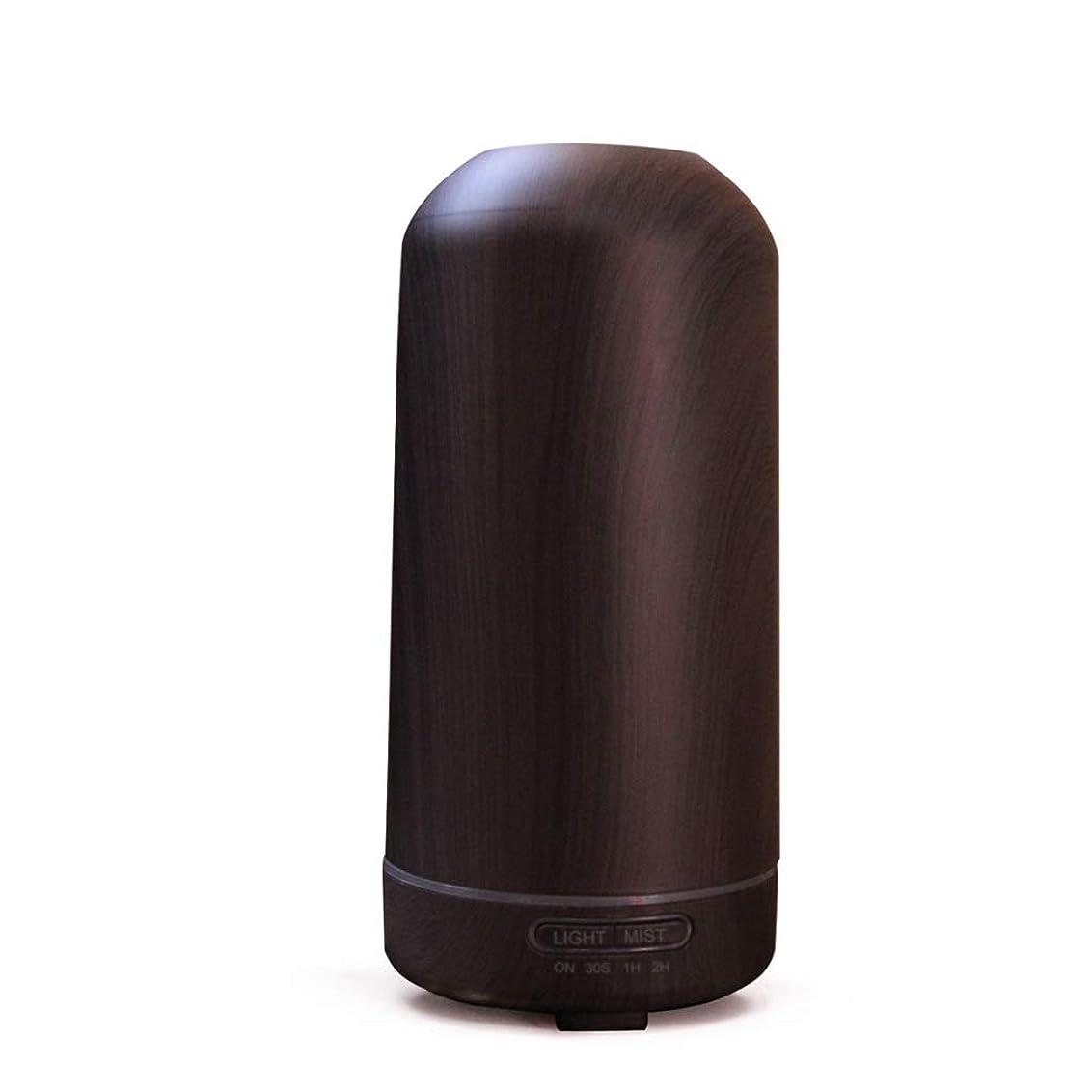 手荷物文献梨100ミリリットル超音波クールミスト加湿器カラーLEDライト付きホームヨガオフィススパ寝室ベビールーム - ウッドグレインディフューザー (Color : Dark wood grain)