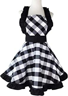 Floosum Retro Aprons for Women, 50's Style Vintage Retro Ruffle Side Black Striped Cooking Apron for Woman Girl