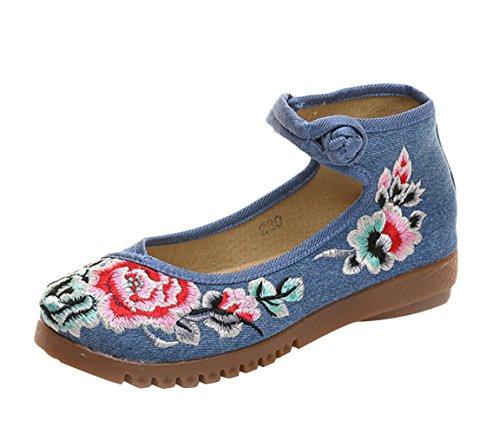Icegrey dames handgemaakte geborduurde bloem borduurwerk Mary Jane Prom schoenen
