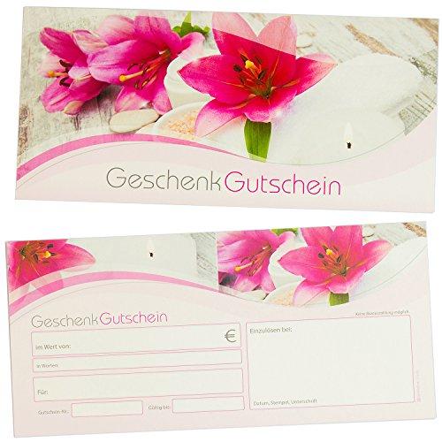 TATMOTIVE Geschenk-Gutscheine Massage + Wellness, 25 Stück, einfach Werte eintragen, für Massage & Beauty Gutschein-Karten