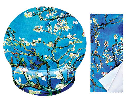 Van Gogh Almond Blossom Ergonomic Design Mouse Pad with Wrist Rest Hand Support. Round Large Mousing Area. Matching Microfiber Cleaning Cloth for Glasses & Screens. Great for Gaming & Work