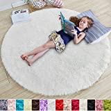 White Round Rug for Bedroom,Fluffy Circle Rug 5'X5' for Kids Room,Furry Carpet for Teen's Room,Shaggy Throw Rug for Nursery Room,Fuzzy Plush Rug for Dorm,White Carpet,Cute Room Decor for Baby