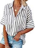 HOTAPEI Womens White Work Blouses Ladies Summer Casual V Neck Striped Short Sleeve Black Button Down Collar Chiffon Shirts and Blouse with Front Pockets Size Medium
