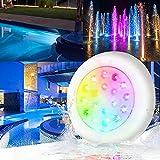 Ankishi Iluminación LED de 10 W, IP68, resistente al agua, luz RGB, bajo el agua, CA/CC, 12 V, para exteriores, para acuario, piscina, jardín, luz [Clase energética A++]