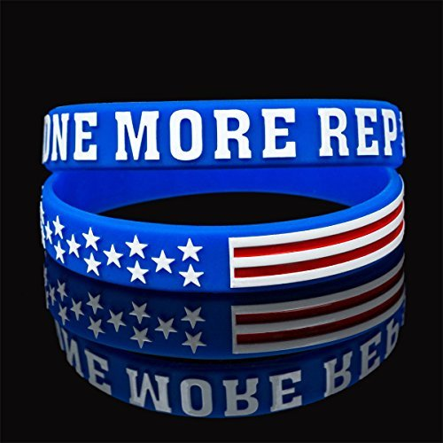 Sainstone Power of Faith Silicone Wristbands Embossed ONE MORE REP Rubber Band Bracelets, Partriotic Sports Fans for Crossfit, Workout, Weight Training Repetitive Exercises,Election (Blue/White/Red)