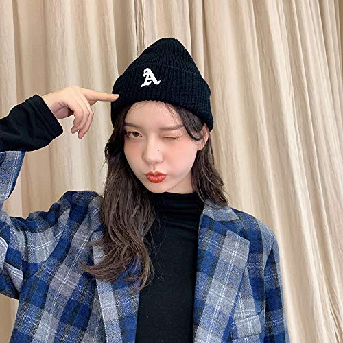 Cloth label knitted wool hat women autumn and winter yuppie melon leather hat landlord hat Korean version of the tide winter pullover cold hat