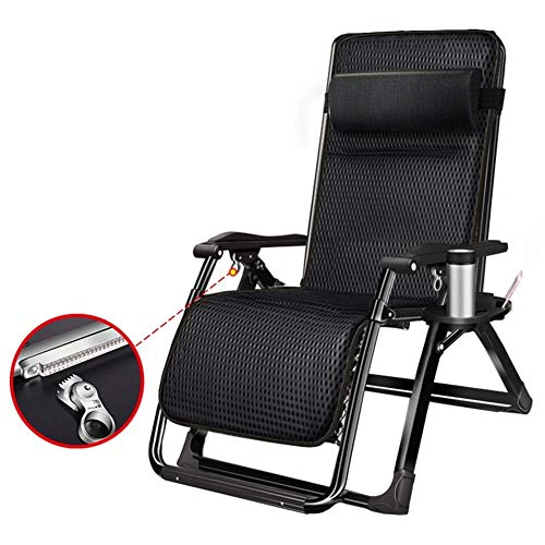 Oversized Padded Zero Gravity Lounge Chair, Wider Armrest Adjustable Recliner with Cup Holder, Support 330Lbs (Black)