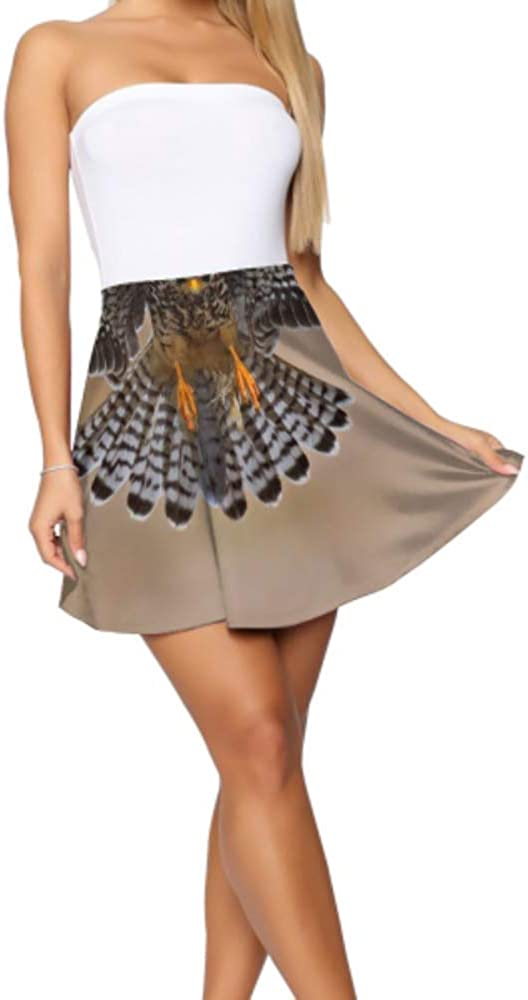 Woman Skater Skirt Birds Amur Falcon Breeds in Sibera Flared Skater Skirt Women's Basic Casual Womens Fit and Flare Skirt S-XL