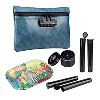 FIREDOG Smell Proof Bag Kit - 4 Items - Carbon Lined Smell Proof Pouch with Lock Odor Proof Case Container 2  Grinder Metal Rolling Tray 4x Doob Tube